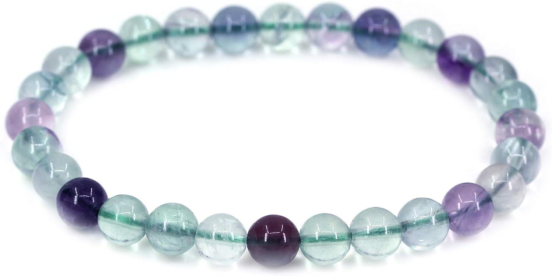 CHENYUE Natural AA grado claro verde fluorita gema 6 mm cuentas redondas pulsera elástica 7 pulgadas