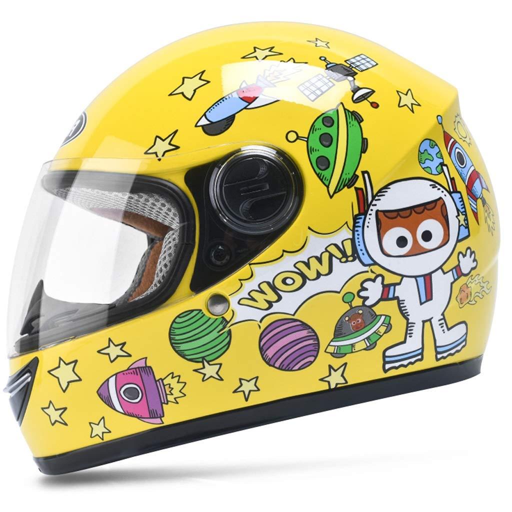 Casco per bambini Casco integrale per moto elettrico Ragazzo Bambino femmina Bambino Inverno Cartoon Cute Hard Hat Colore : Giallo