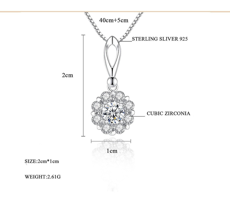 MMC Womens Necklaces Pendants Charm Shinning Petal Cubic Zirconia Silver Jewelry