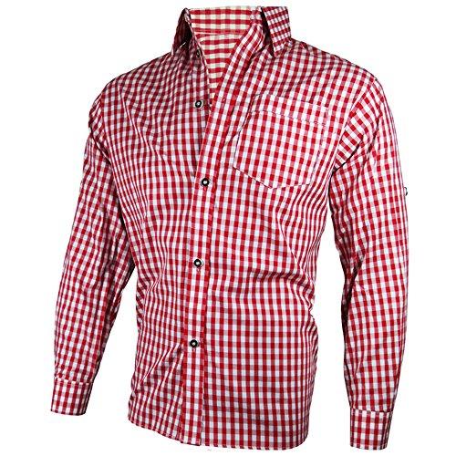 PAULGOS Trachtenhemd Hemd Trachten Karohemd Rot Blau Weiss Kariert, Größe Artikel:L;Farbe:Rot