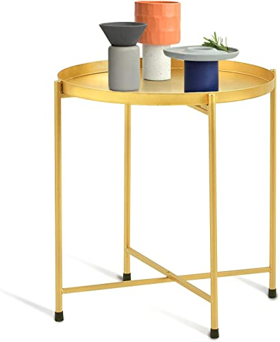 Round End Table, Side Table Tray Metal End Table Round Foldable Accent Coffee Table for Small Spaces in Living Room Bedroom 18.1 20.5 , Gold