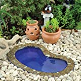 Janit Calvo's Kidney shape Miniature Fairy Garden Garden Pond, Small 5.5″ L