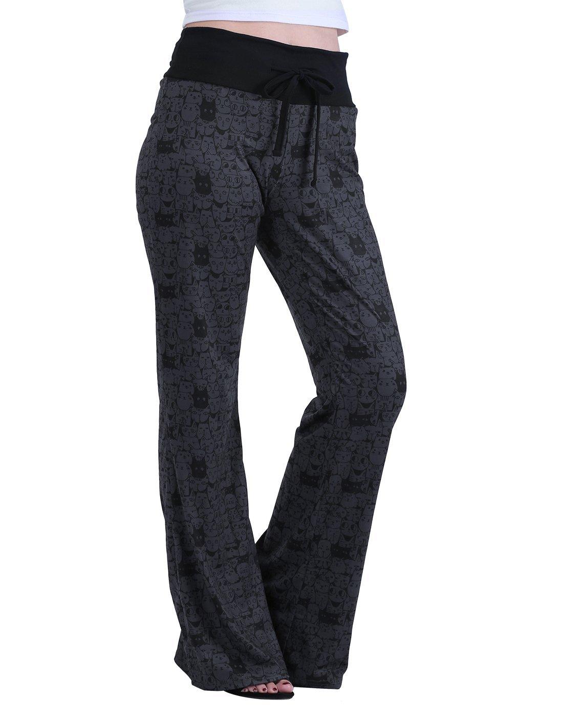 HDE Womens Cotton Pajama Pants Wide Leg Sleepwear Casual Loose Lounge PJ Bottoms,A Thousand Cats,Large