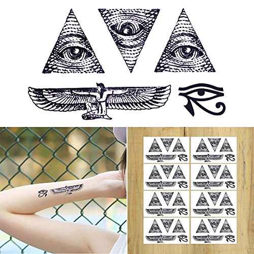 COKOHAPPY 8 PCS Temporary Tattoo Hand Drawn Black Ankh Egypt Eye of Horus for Men Women]()