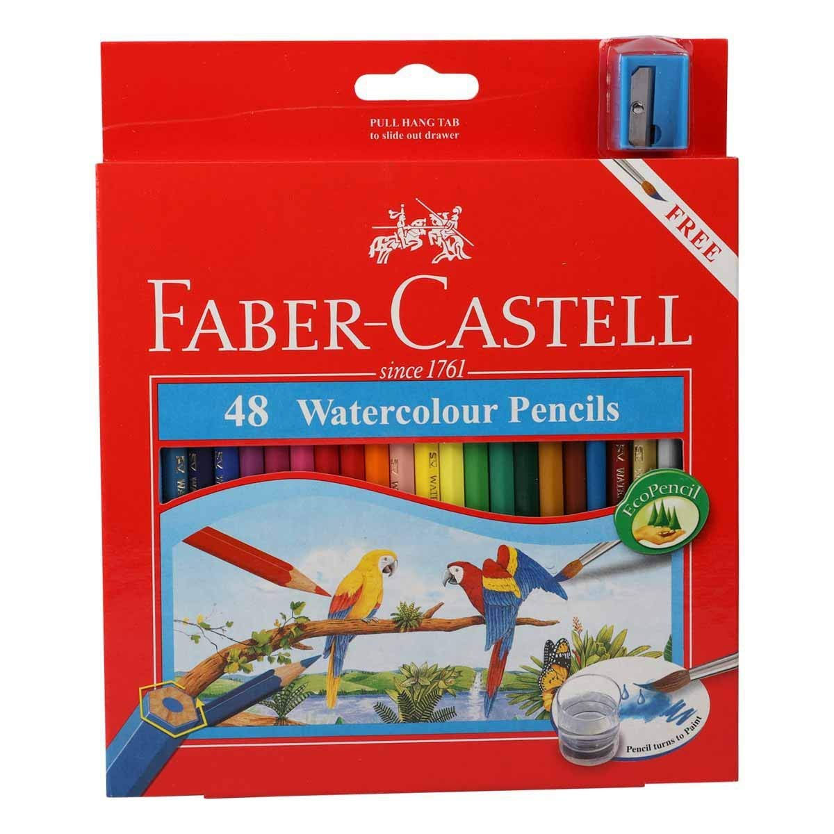 Faber Castell WaterColor Pencils with Sharpener and Brush, 48 WaterColored Pencils set 48 WaterColored Pencils set Faber-Castell 4336949125