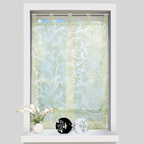 tab top sheer curtains. ISINO 1 Piece Tab Top Sheer Voile Roman Shade Kitchen Balcony Drape Burnout Fabric Window Curtain Curtains