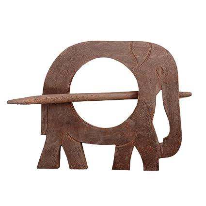 Purpledip Wooden Curtain Holder Tie Back Drape Clips Royal Elephant: Set of 2 (11147)