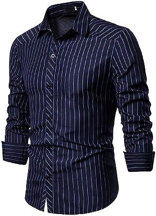 dahuo - Camisa de Trabajo para Hombre, Manga Larga, diseño de Rayas, Color Rojo Azul Azul Marino XS: Amazon.es: Ropa y accesorios