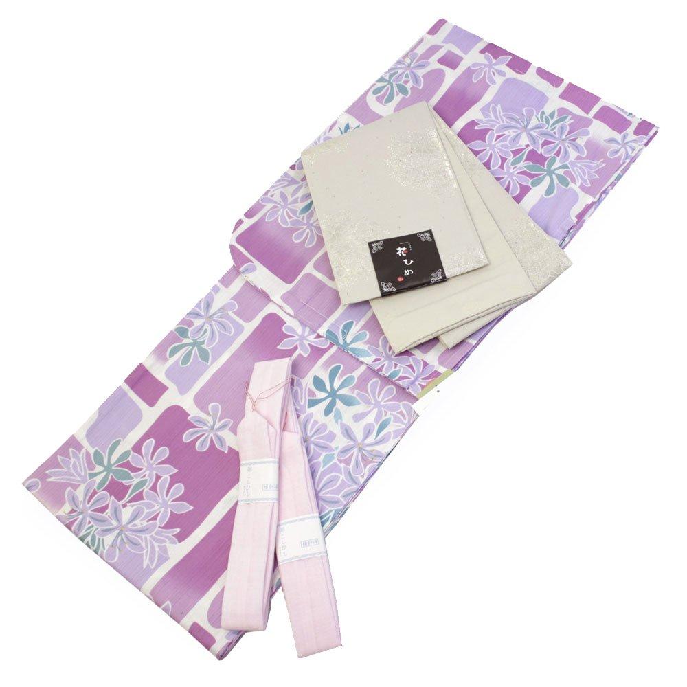 Womens Cotton Yukata 3items set Japanese Summer Kimono Floral Blocks M size