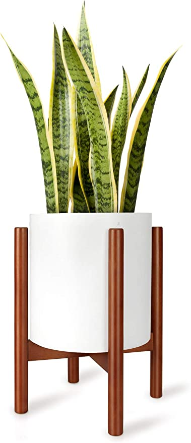 Mkono Plant Stand Mid Century Wood Flower Pot Holder Plant Pot Not Included Modern Potted Stand Indoor Display Rack Rustic Decor Up To 10 Inch Planter Brown Garden Outdoor