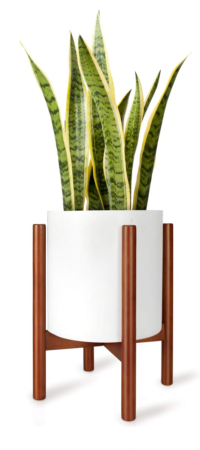 Mkono Plant Stand Mid Century Wood Flower Pot Holder Display Potted Rack Rustic Decor, Up to 10 Inch Planter (Plant and Pot NOT Included), Brown by Mkono