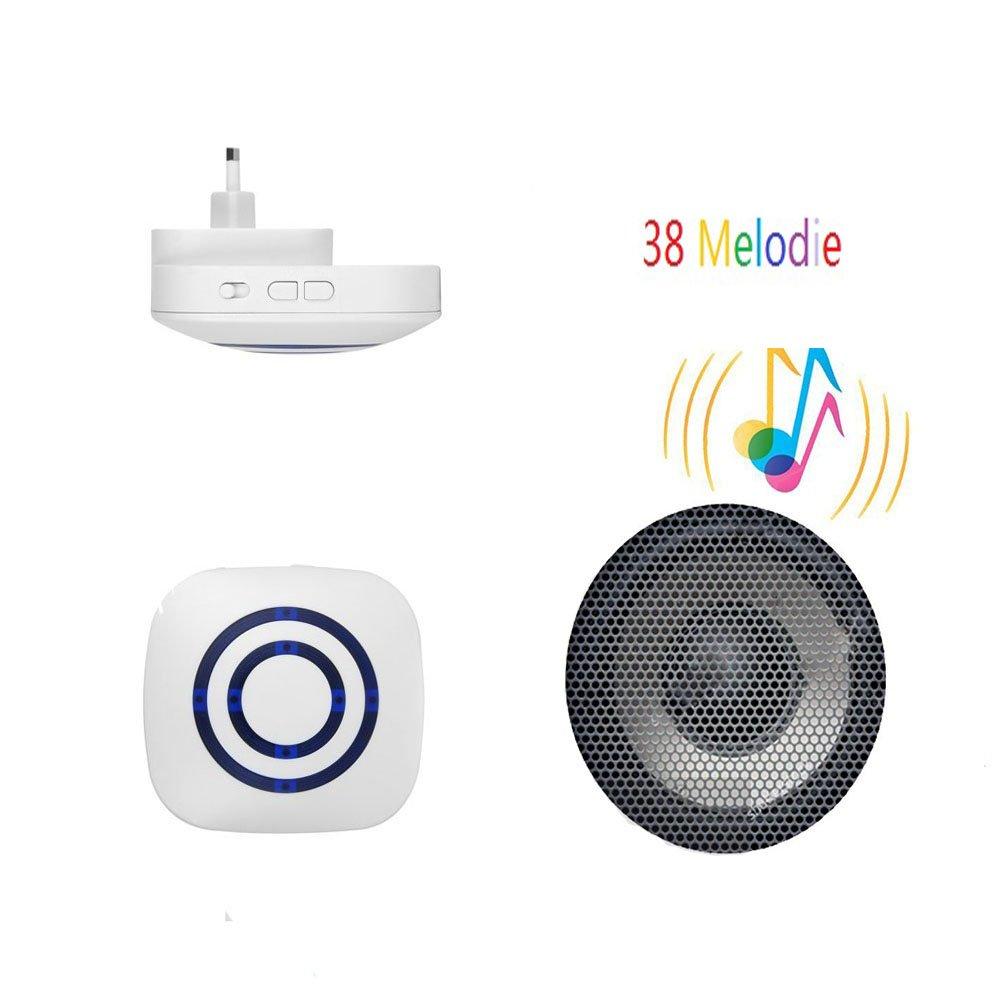 Alarma de seguridad, Domowin Timbre de Alarma Detector de presencia Portátil impermeable Avisador de Puerta 1 sensor & 1 receptor 38 melodías: Amazon.es: ...