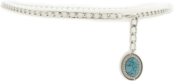 Women Antique Silver Metal Fashion Belt Flower Turquoise Blue Hip High Waist S M