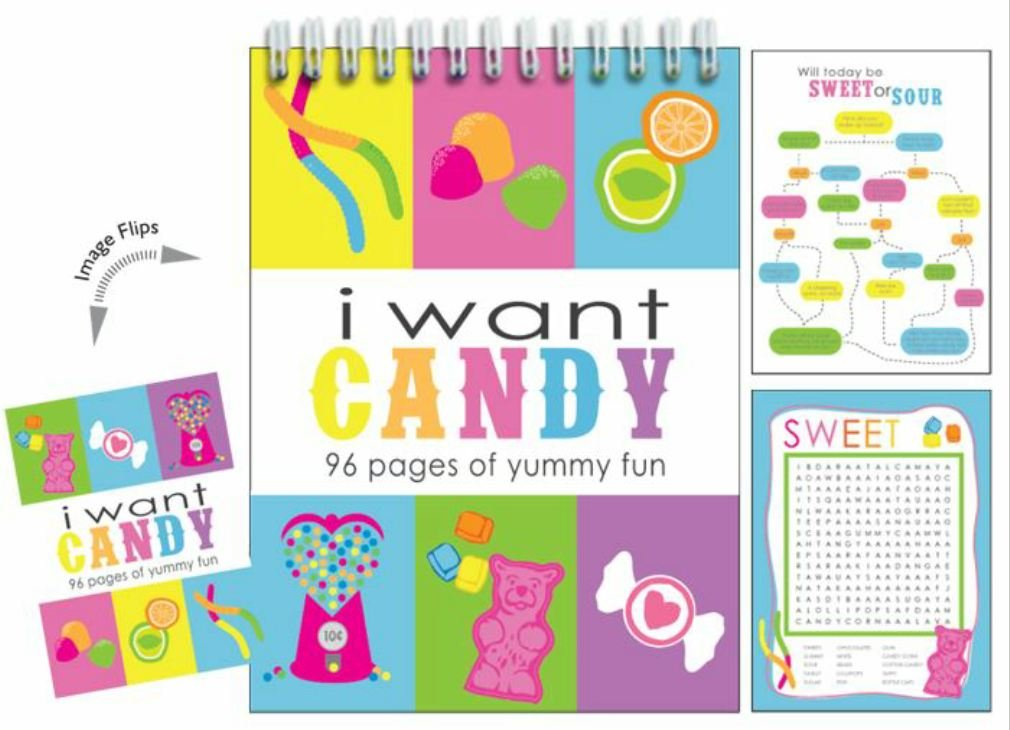Iscream I Want Candy 96-page Activity Book Changing with Picture Changing Book Cover by iscream b92b4c