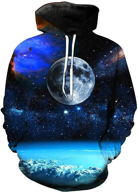 lsweia Divertido suéter Universo Luna Brillante Sudadera con ...