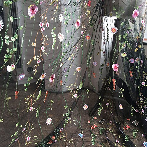 Black Tulle Exquisite Floral Alice Embroidered Dress Sewing Lace Fabric Stylish Costume Ballgown Prom Skirt 58 inches Width Sold by 1 Yard
