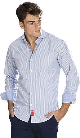 Camisa Manga Larga Azul Celeste de Vestir, semientallada con Rayas en Color Blanco para Hombre: Amazon.es: Ropa y accesorios