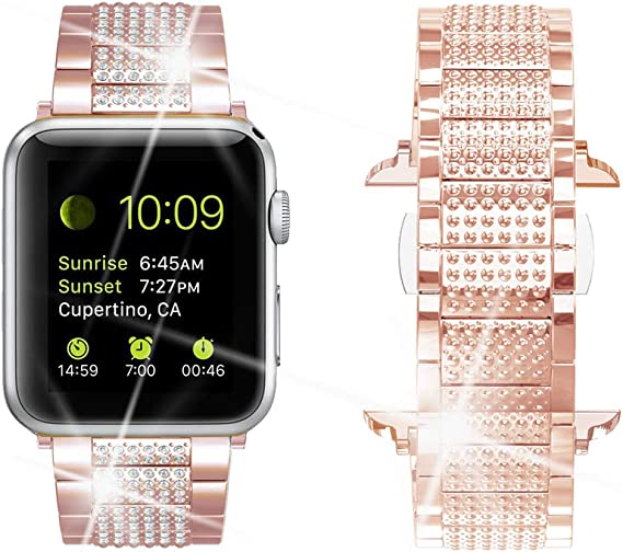 Amazon Com Dassions Bling Rhinestone Luxury Diamond Stainless Steel Replacement Bands For Apple Watch 42mm 44mm Series 6 Series 5 4 3 2 1 Se Rose Gold 42 44mm