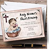 vintage baby tub - Vintage Baby Girl In Tub Personalized Christening Invitations