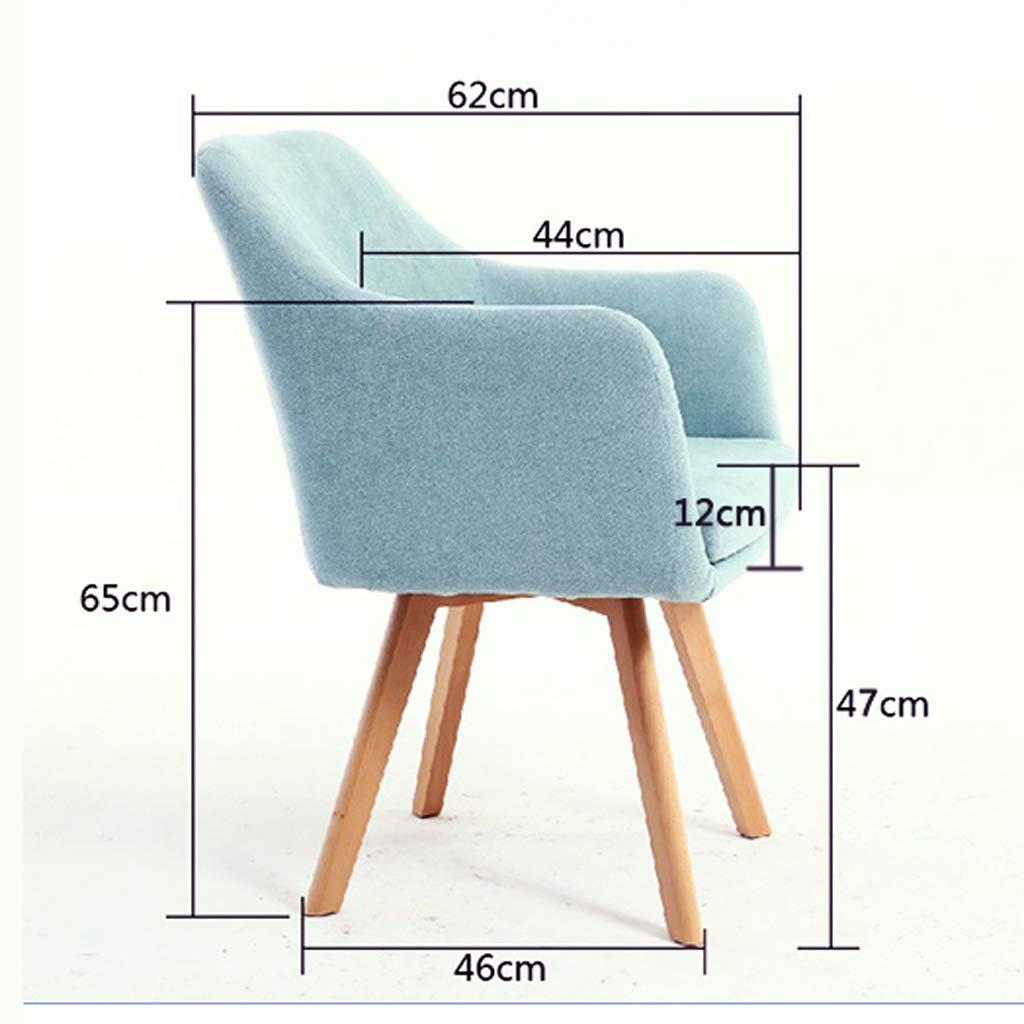 Aoyo hem dator stol kontorsstol, lyftstol svängbar stol tyg chef stol, enkel fritidsstol (färg: beige-trä fot) Blue-wooden Feet
