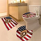 3 Piece Bathroom Rug Set Various Round Soccer Balls In Air Fast Kick Shoot In Flame Kickoff Artsy Sketch Blac Extra Soft Memory Foam Combo - Rug, Contour Mat and Lid Cover