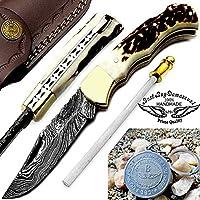 Stag Horn 6.5'' Handmade Damascus Steel Brass Bloster plus Sharpening Rod Folding Pocket Knife Back Lock 100% Prime Quality