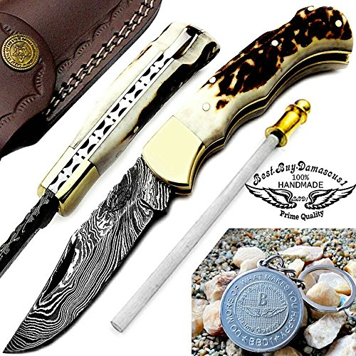 "Stag Horn 6.5"" Handmade Damascus Steel Brass Bloster plus Sharpening Rod Folding Pocket Knife Back Lock 100% Prime Quality"