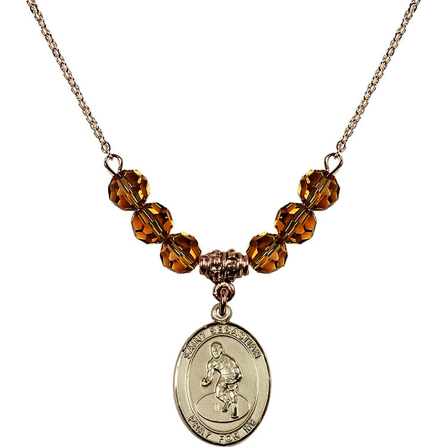 18-Inch Hamilton Gold Plated Necklace with 6mm Yellow November Birth Month Stone Beads and Saint Sebastian/Wrestling Charm