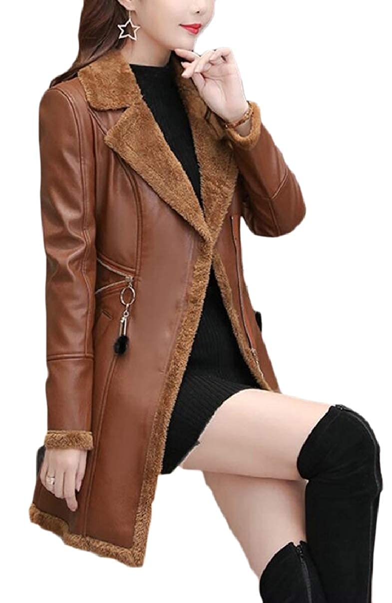 1 LEISHOP Womens Faux Leather Fleece Slim Coat Jacket Outwear