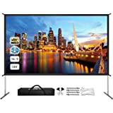 Projector Screen with Stand, Upgraded Front or Rear Projection 180in 4K 16:9 HD, Portable Projector Screen for Outdoor/Indoor Home Theater Backyard Movie Gaming Office School Presentation