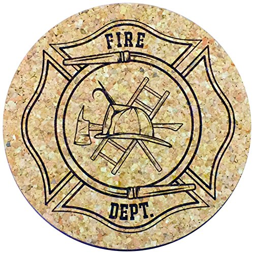 (XL Coasters Fireman Shield (6 Inch, Set of 2) Oversized cork absorbent drink coasters that won't drip USA)