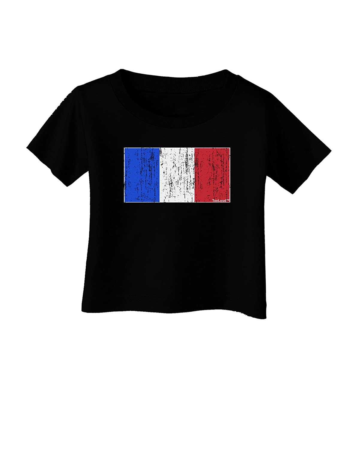 TooLoud French Flag France Distressed Infant T-Shirt Dark