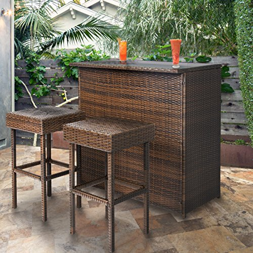 Best Choice Products 3-Piece All-Weather Outdoor Wicker Bar Table Set w/ 2 Stools, Glass Tabletop, and Shelf, Brown