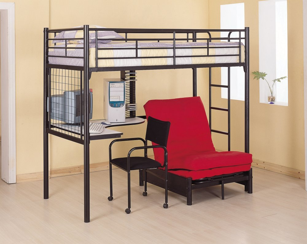 Amazon.com: Coaster Fine Furniture 2209 Metal Bunk Bed With  Futon/Desk/Chair And CD Rack, Black Finish: Kitchen U0026 Dining