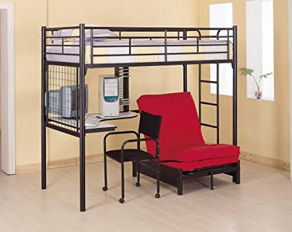 coaster fine furniture 2209 metal bunk bed with futon desk chair and cd rack amazon    coaster fine furniture 2209 metal bunk bed with futon      rh   amazon