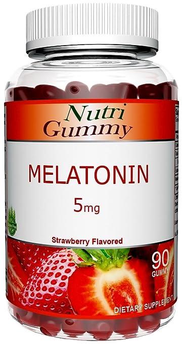 Melatonin, 5mg Maximum Strength Delicious Sleep Aid Advanced Complete Formula, Gluten-Free Adult