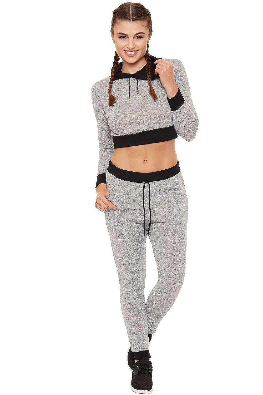 WearAll Recortada con Capucha Loungewear Conjunto De Contraste ...
