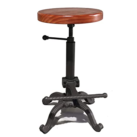 Cool Topower Industrial Retro Vintage Farm Wooden Tractor Stool Kitchen Swivel Height Adjustable Bar Stool Dark Brown Creativecarmelina Interior Chair Design Creativecarmelinacom