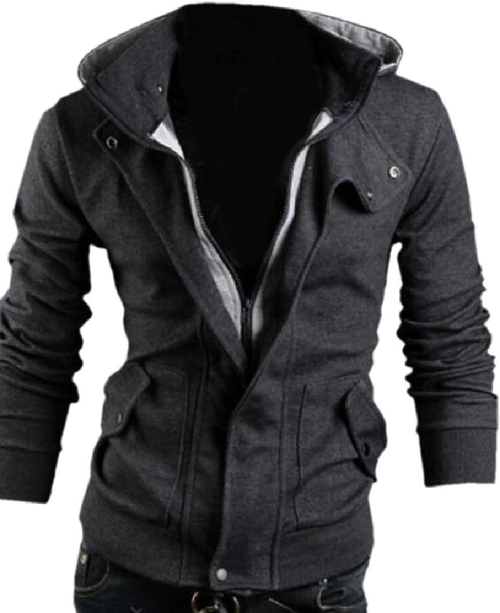 CBTLVSN Mens Hooded Sweatshirt Hood Casual Zipper Up Coats Slim Coat