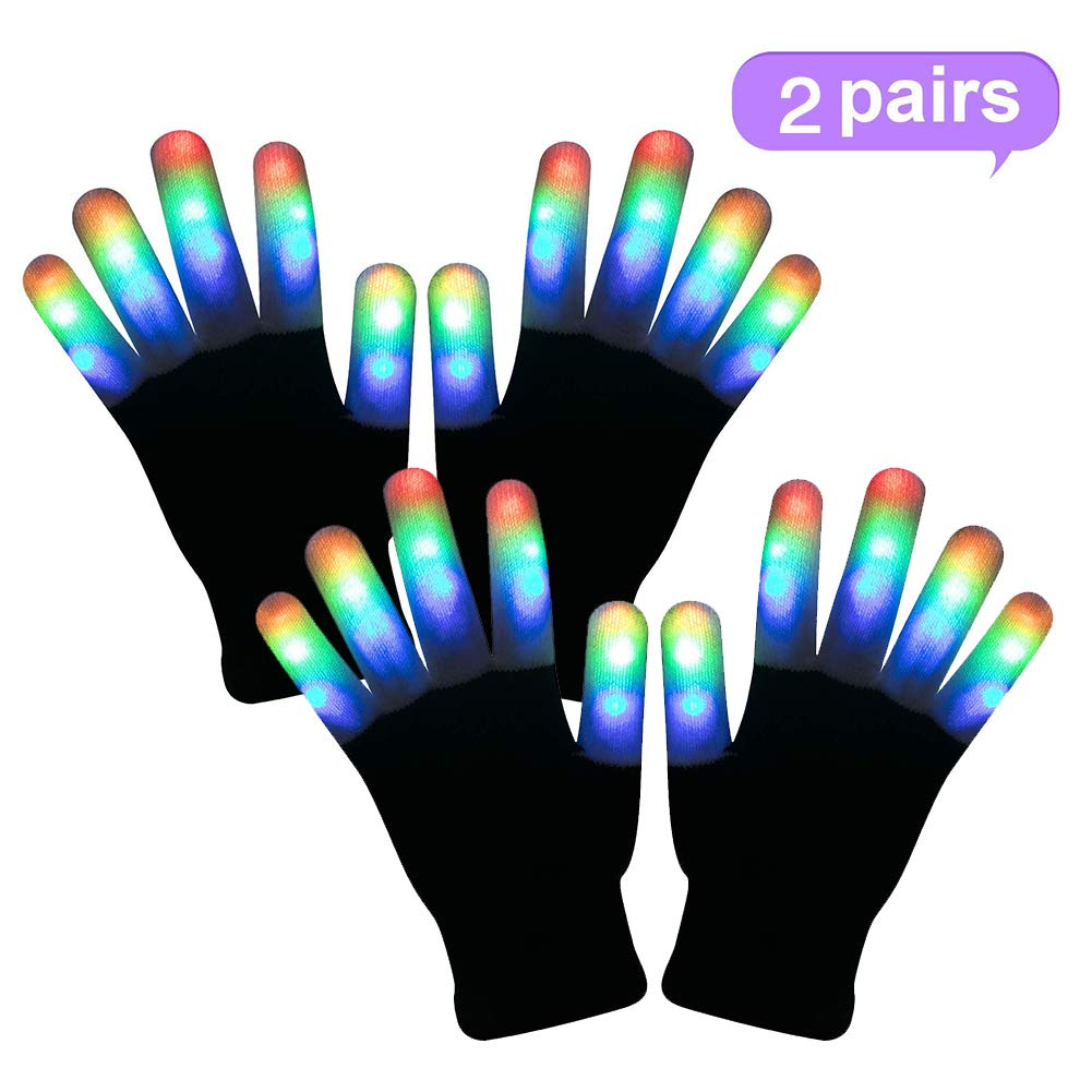 WSJDPP Stage Performance LED Gloves Warm Gloves Multicolor Gloves Cool FunToys Halloween Cosplay Props for Raves Festivals Halloween Bonfire Night Party Games Clubs,Child by WSJDPP