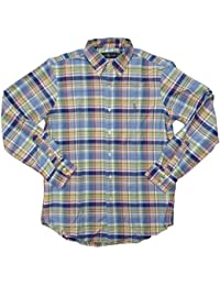 Polo Men's Long Sleeve Oxford Button Down Plaid Shirt