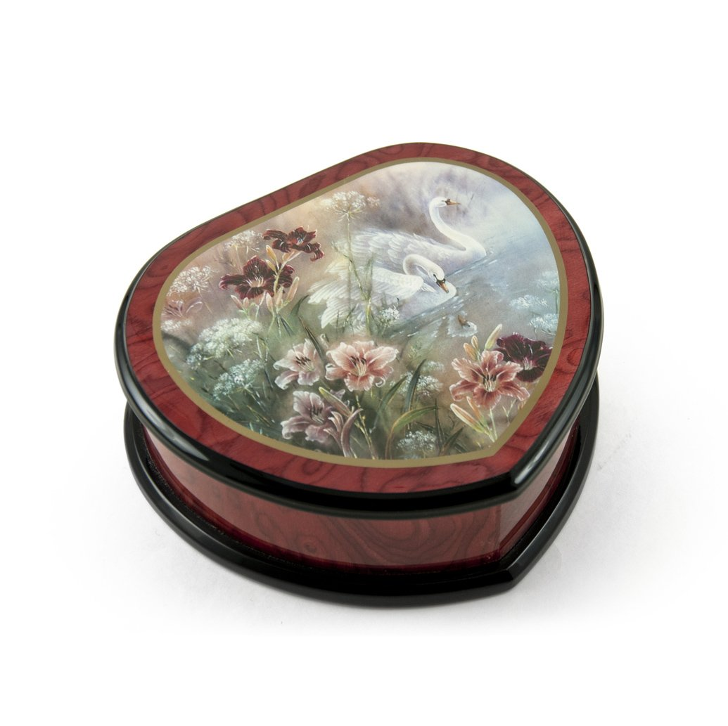Elegant Heart Shape Painted Ercolano Music Jewelry Box Titled - Swan and Daylilies by Lena Liu - There is No Business Like Show Business