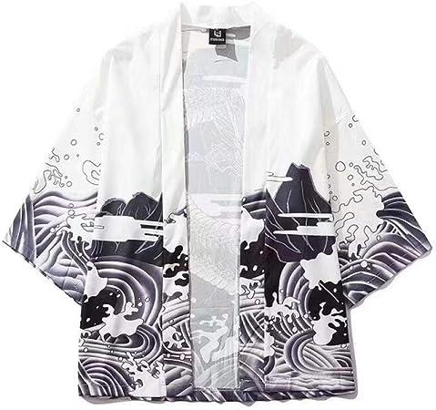 Dragón Modelo japonés Onda impresión Digital Kimono de Perder la Camisa de Manga Tres Cuartos Delgada SYXMSM (Color : White, Size : XL): Amazon.es: Hogar