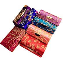 1 PCS Colorful Satin Silky Fabric Brocade Embroidery Lipstick Jewelry Boxes With Mirror And Floral Prints Assorted for Women Best Gift (Random Assorted Colors)