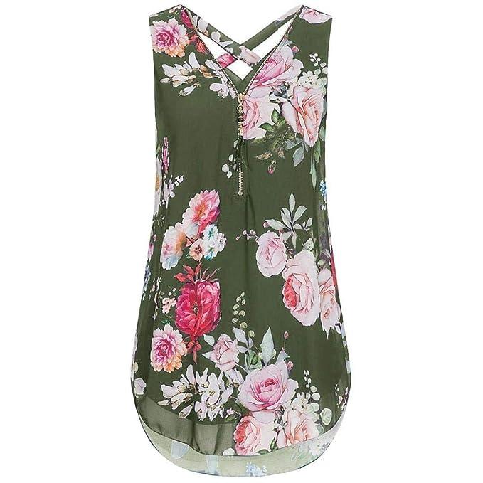 Chalecos Mujer Vintage Elegantes Florales Chiffon Blusas Sin Mangas Túnica V-Cuello con Cremallera Anchas