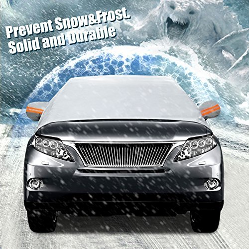 AUDEW Premium Car Snow Cover Windshield Snow Cover for Automobiles-Design Protects Windshield and Wipers from Snow, Ice,and Frost Build Up with hooks Fixed Four Wheels & Reflective Warning Bar
