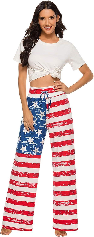Womens Pajama Lounge Pants Christmas Plaid Striped Comfy Casual Floral Palazzo Drawstring Wide Leg Plus-Size Pants