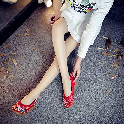 Stile Moda Suola 38 Etnico Lino Forti Più Fuxitoggo Casual Femminili Dimensione colore Scarpe Ricamate Comodo Rosso A Tendine wPtYp1q
