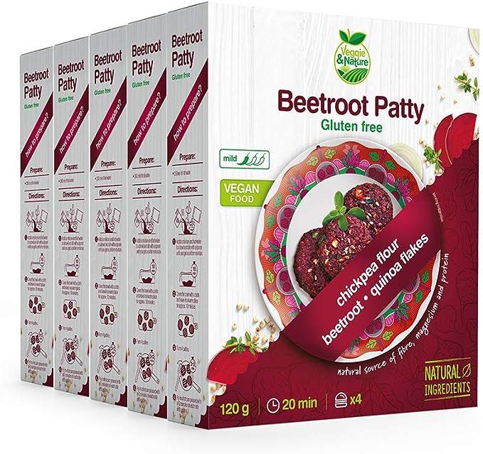 Veggie&Nature Vegan, Gluten-Free Beetroot Patty Mix (5 x 120 g): Amazon.co.uk: Grocery