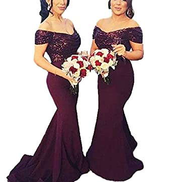 AngelCity Brides Womens Sequences Mermaid Long Off Shoulder Bridesmaid Dresses Prom Dresses Evening Party Gowns
